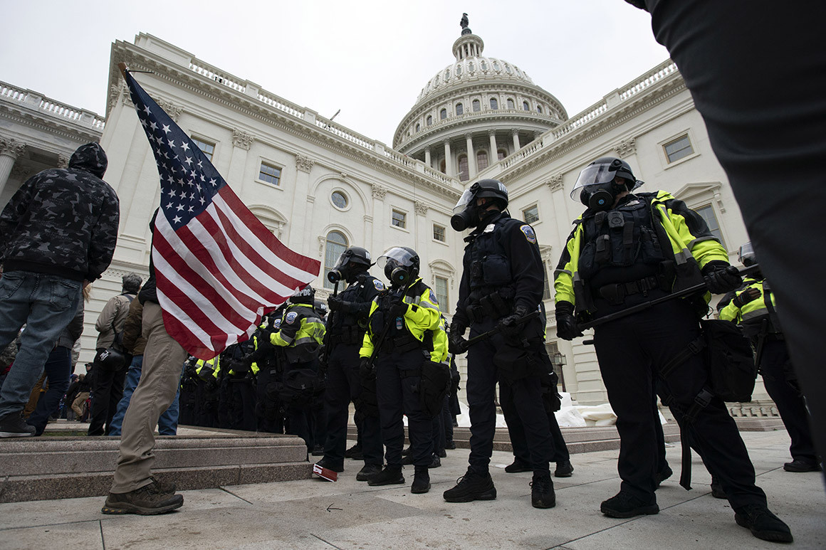 Uniformed Capitol Police standing outside of the Capitol Building in Washington, DC. January 6th, 2021